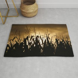Corn field silhouettes Rug