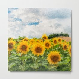 Sunflowers And Hill Painting Metal Print