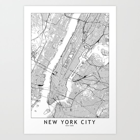 New York City White Map by multiplicity