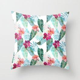 Island Goddess Tropical White Throw Pillow
