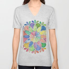 Watercolor Mandala Unisex V-Neck