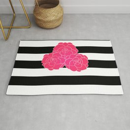 Stripes and Pink Roses Rug