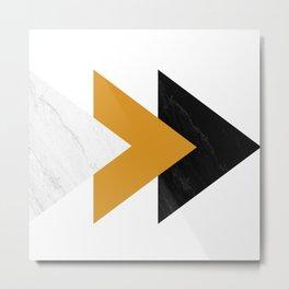 Forward marble yellow arrows Metal Print