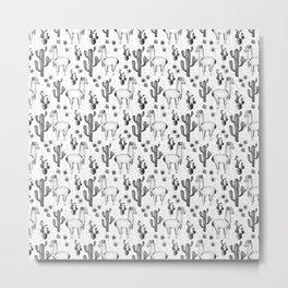Llama Llamarama + Cactus Pattern Metal Print