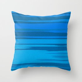 Blue Sea Abstract Cloud Stripes Throw Pillow