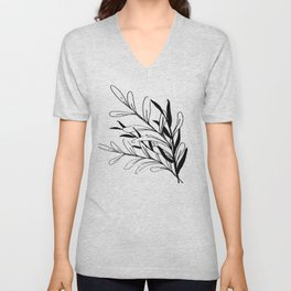 Entwined Sketched Branches in Black and White Unisex V-Neck