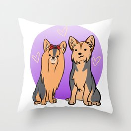Yorkie and Silky Terriers Throw Pillow