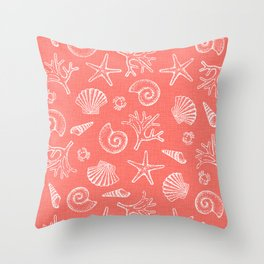 Lovely Life on Beach - Living Coral Throw Pillow