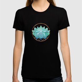 Modern Blue Succulent with Metallic Accents T-shirt