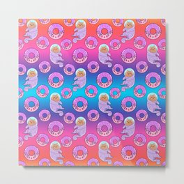 Cute sweet adorable Kawaii cats, funny pink yummy donuts with sprinkles colorful rainbow blue pattern design. Space suits and astronauts. Sweet galaxy. Metal Print