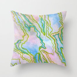 Abstract stone watercolor pattern Throw Pillow