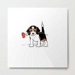 The Love Puppy — Flower Metal Print
