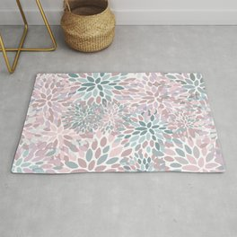 Floral Prints, Pink and Teal, Modern Print Art Rug