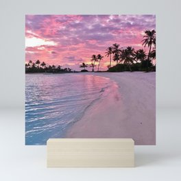 SUNSET AND PALM TREES Mini Art Print