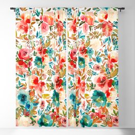 Red Turquoise Teal Floral Watercolor Blackout Curtain