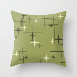 Mid Century Modern Stars Olive Green Throw Pillow