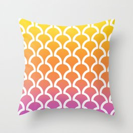 Classic Fan or Scallop Pattern 460 Yellow Orange and Magenta Throw Pillow