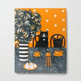 Halloween French Press Coffee Cats Metal Print
