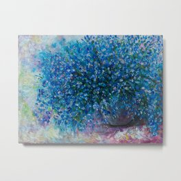 Forget Me Nots Bouquet with a Palette Knife by OLena Art Metal Print