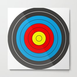 Yellow, red, blue, black target on white background Metal Print