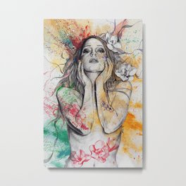 The Withering Spring I | nude tattoo woman portrait Metal Print