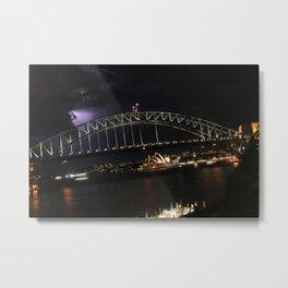 Lightning over Sydney Harbour, Lavender Bay, NSW Metal Print