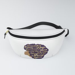 Black Girl Magic - Descendants of Queens and Kings Determined To Rise Faux Gold Afro Woman Fanny Pack