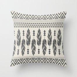Tribal Feathers-Black & Cream Throw Pillow