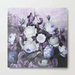Periwinkle Roses Gray Birds Temple of Flora Metal Print