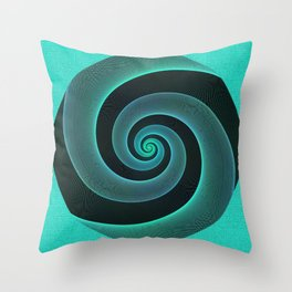 Mint Swirl Blue & Black Spiral Modern Pattern Design Throw Pillow