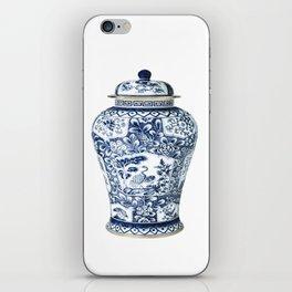 Blue & White Chinoiserie Cranes Porcelain Ginger Jar iPhone Skin
