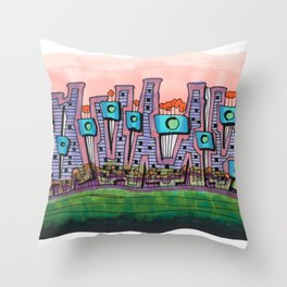 Waterfront Apartments Architectural Illustration 57 Throw Pillow