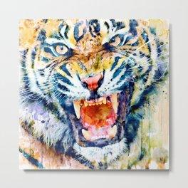 Angry Tiger Watercolor Close-up Metal Print