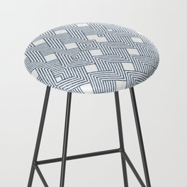 Blue Denim and White Abstract Bar Stool