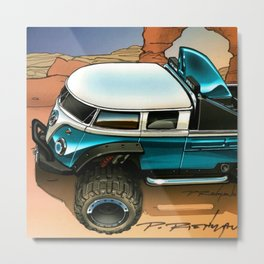 Hot Wheels Teal T1 Bus Rockster Dragster Poster Trade Print Metal Print