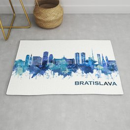 Bratislava Slovakia Skyline Blue Rug