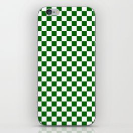 Small Checkered - White and Dark Green iPhone Skin
