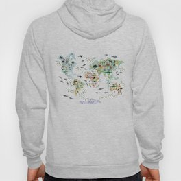 Cartoon animal world map for children and kids, Animals from all over the world back to school Hoodie