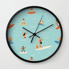 Surfing kids Wall Clock
