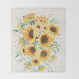 Loose Watercolor Sunflowers Throw Blanket