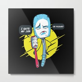 Toothbrush and Toilet Brush funny saying Metal Print