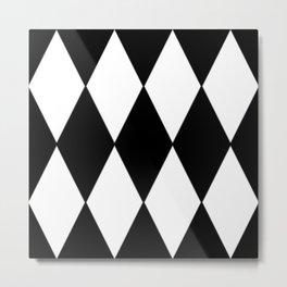 LARGE BLACK AND WHITE HARLEQUIN DIAMOND PATTERN Metal Print