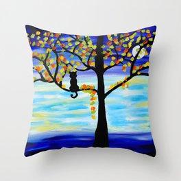 Moonlight Kitten Throw Pillow