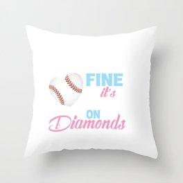 Girls Softball , A Game So Fine It's Played on Diamonds, Softball Gift Idea, Softball Fun Throw Pillow