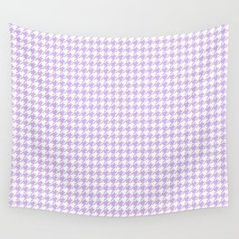Small Houndstooth Pastel Lilac Lavender Violet Purple Pattern Wall Tapestry