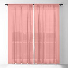 Living Coral Pantone Solid Color Block Sheer Curtain