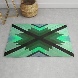 Navaho Vibes Geometric Pattern - Black Pine Aqua Rug