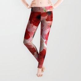 Pressed Poppy Blossom Pattern Leggings
