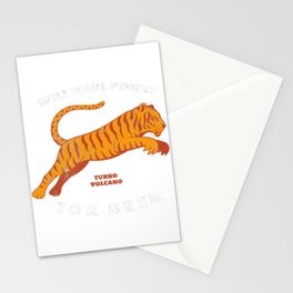 "Retro ""Will Maul People For Beer"" Funny Tiger Stationery Cards"