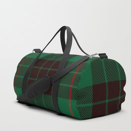 Dark Green Tartan with Black and Red Stripes Duffle Bag